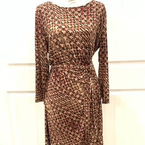 Anne Klein Brown Houndstooth Long Sleeved Dress-XL